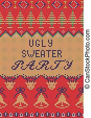 Ugly Sweater Party - Vector Illustration of Ugly Sweater...