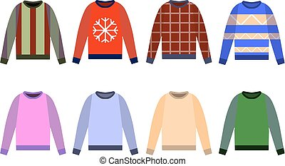 Ugly sweaters set icon, Yellow, red, blue jumper isolated on white background. Flat design Vector