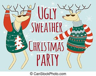 Ugly sweather christmas party illustration, Christmas ...