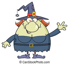 Ugly Witch Cartoon Mascot Character Waving For Greeting....