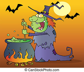 Ugly Witch Preparing A Potion - Warty Halloween Witch ...