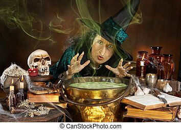 Ugly witch - Ugly old halloween witch casting a spell over...