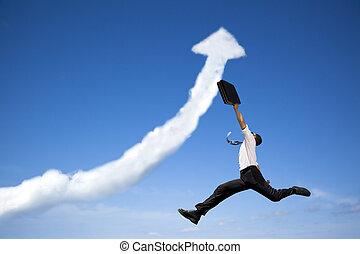 ugrás, üzletember, noha, ügy, felnövés, ábra, felhő