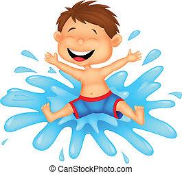 ugrás, fiú, víz, karikatúra