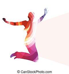 ugrás, nő, árnykép, ábra, vektor, háttér, színes, fogalom