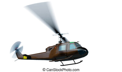 UH-1E fly - Render of helicopter UH-1 fly on white and matte