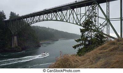 UHD 4k movie of Deception Pass bridge in Anacortes and Oak...