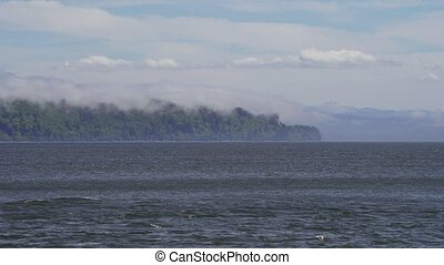 UHD 4k video of the mouth of Columbia River in Astoria OR...