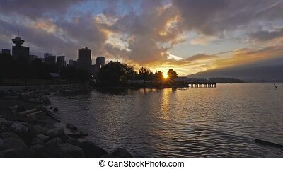 UHD 4k video of water and sunset sky in Crab Park Vancouver...
