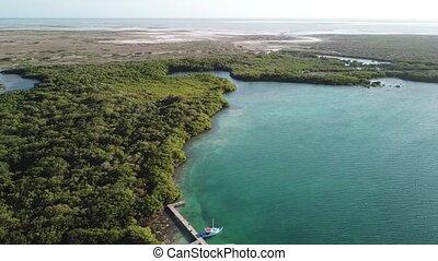 uhd, bonaire, antilles, lagune, île, sommet, windsurf, bourdon, vidéo, 4k, mer, aérien, sorobon, vue