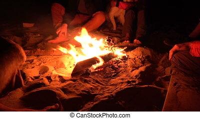 uhd, groupe, séance, chaud, nuit, feu camp, 4k, pendre, amis, dehors.