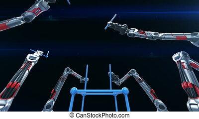 uhd, montage, réseau, structure, animation., bras, fait boucle, grille, 4k, robotique, industriel, technologie, concept., 3840x2160., 3d