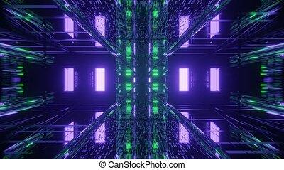 uhd, prismatique, néon, 4k, structural, boucle, vj, 3d, couloir, high-tech, rendre