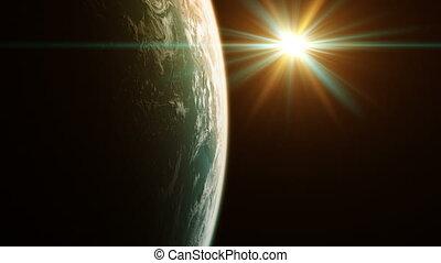 uhd., vue, planète, beau, space., 4k.