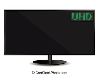 UHDTV Ultra High Definition Television text on the TV screen. Vector illustration.
