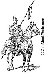 Uhlan, showing mounted lancer wearing the Czapka helmet, vintage engraved illustration. Dictionary of Words and Things - Larive and Fleury - 1895