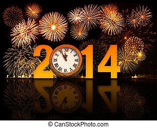 uhr, minuten, feuerwerk, mitternacht, 5, jahr, 2014, zeigen,...