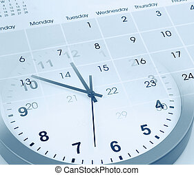 uhr, und, kalender