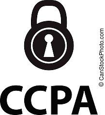 ui., カリフォルニア, 白, ロゴ, アイコン, 行為, 印。, ccpa, プライバシー, シンボル。, 碑文, style., app, 消費者, デザイン, サイト, 平ら, 網, バックグラウンド。, あなたの, 錠