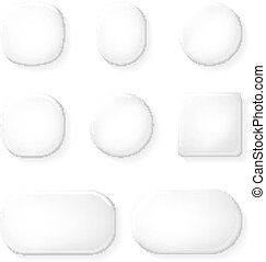 UI Buttons Glass App Icons Transparent Design Elements Vector Illustration