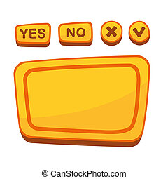 UI Buttons Set for Agreement Panel in Cartoon Style. Vector