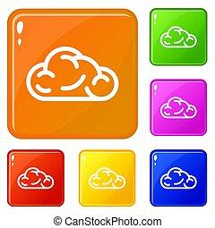 Ui cloud icons set color