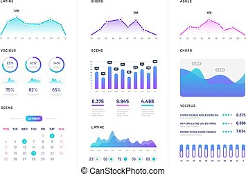 Ui dashboard. Modern infographic with gradient finance graphs, statistics chart and column diagrams. Analysis internet vector report
