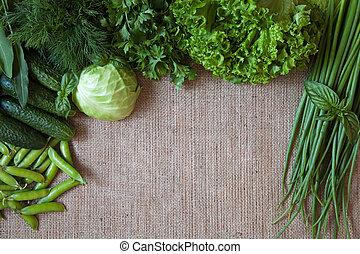 ui, dille, achtergrond., groentes, sackcloth, samenstelling, rustiek, komkommer, erwtjes, kool, groene, frame, basilicum