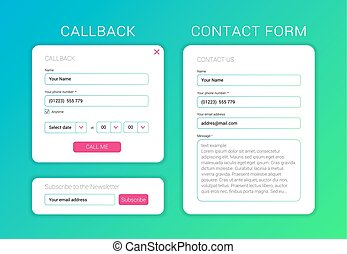 UI elements web subscribe form, contact form, callback form flat design