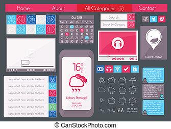 UI flat design web icon set