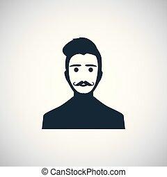 ui, icône, blanc, toile, moustache, fond, homme