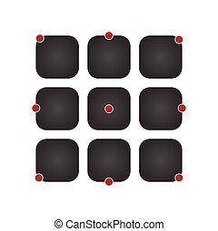 ui, ikone, satz, vektor, schwarz, app, tasten, begriff, freigestellt, auf, modern, hintergrund.