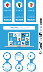 Ui, infographics and web elements including flat design.
