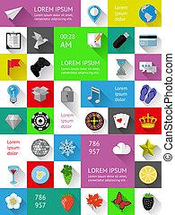 ui, infographics, y, tela, elementos