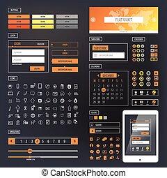 Ui kit responsive web design. Icons, template mockup. Vector...
