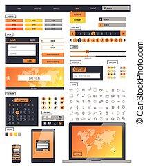 Ui kit responsive web design. Icons, template mockup.Vector...