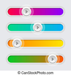 ui, kleur, volume controle, sliders, set., vector.