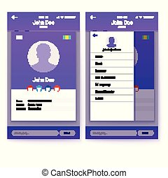 UI of mobile app, GUI design for responsive business website or applications. Page of profile and sidebar menu screen with flat web icons. 3D illustration, isolated on white.