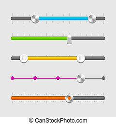 UI sliders set. Vector illustration.
