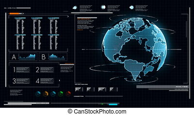 UI User Interface Dark blue background with world map graph bar pi and HUD element for cyber technology and futuristic concept dark and grain processed