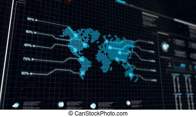 UI User Interface Dark blue background with world map graph...