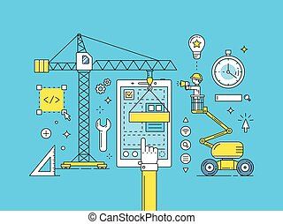 UI UX thin line mobile app development process. Construction...