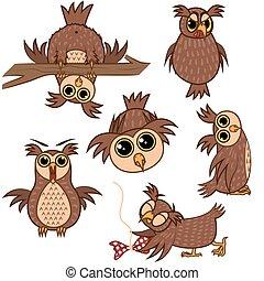 uil, anders, set, karakter, vrijstaand, vector, emotions., illustraties, spotprent, emoji