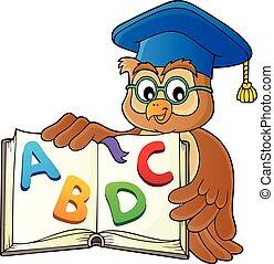 uil, beeld, leraar, thema, 2, opengeslagen boek