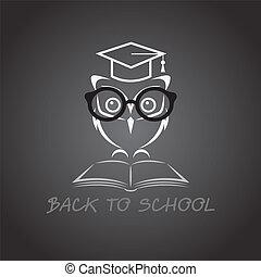 uil, beeld, vector, universiteit, hoedje, boek, bril