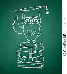 uil, books., zittende