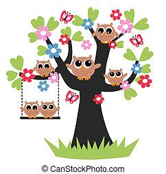 uil, boompje, gezin, samen