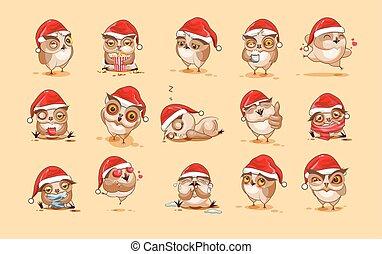 uil, emoticons, karakter, vrijstaand, emoties, anders, illustraties, stickers, spotprent, emoji