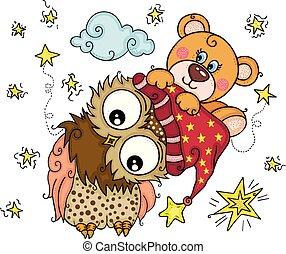 uil, goed, teddy beer, boven, nacht
