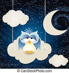uil, hemel wolk, achtergrond, nacht